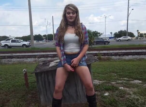 Teen strips in public